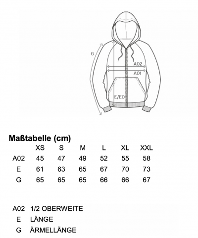 Maßtabelle Damen-Zipper